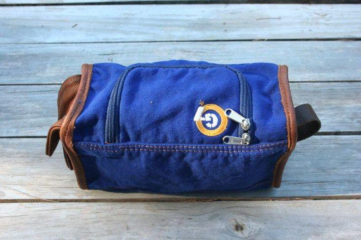G7utility.com canvas & leather Wash-bag - Cobolt Blue