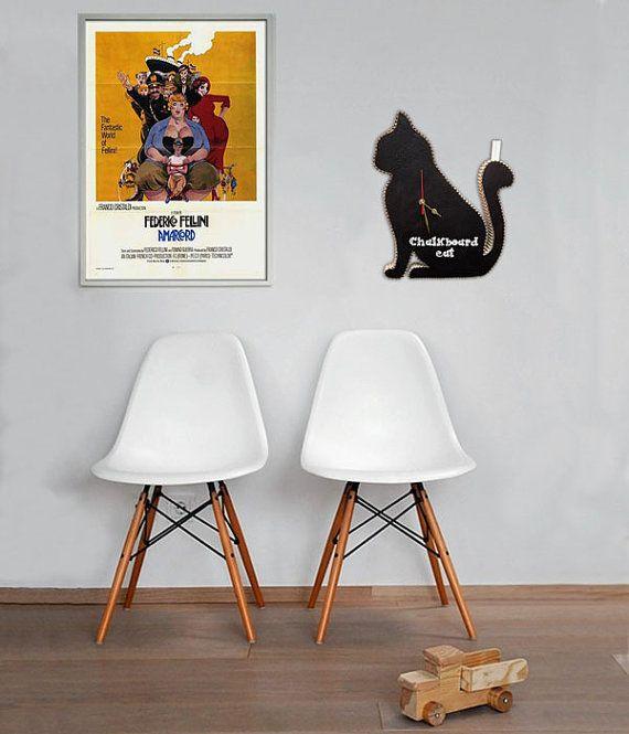 Orologio lavagna Omero il Gatto nero decoro da di bottegadicartone
