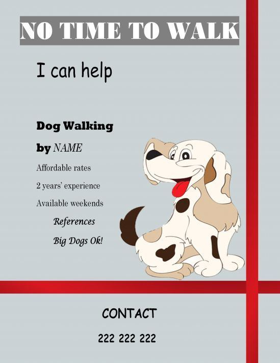 25 best dog walking flyer certificate images on pinterest for Dog walking flyer template free