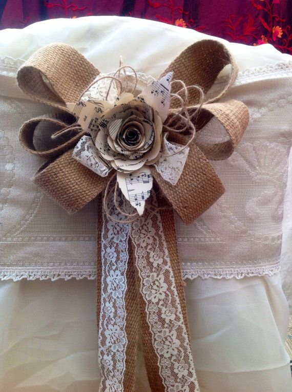 12 hessian bows Pew ends chair backs natural lace paper flowers music…