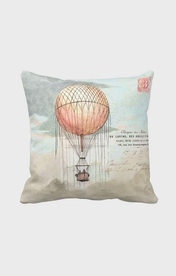 Pillow Cover Pink Hot Air Balloon Cotton