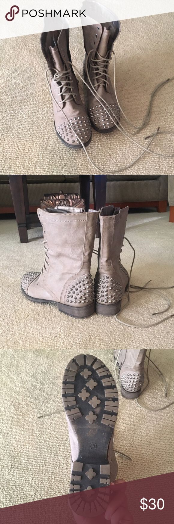 Studded Combat Boots Zip up tan combat boots with studs worn at most a few times, still in very good condition. Shoes Combat & Moto Boots