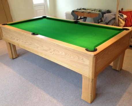 8ft Emperor UK Pool Table manufactured in European oak with a Danish oil finish and square legs  Shop here: http://www.snookerandpooltablecompany.com/pool-tables/uk-pool-tables/modern-bespoke-uk-pool/emperor-uk-pool-table-in-oak-with-green-cloth.html