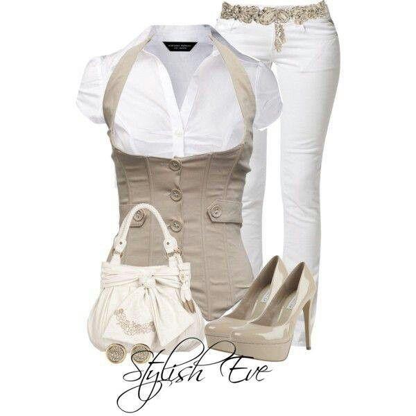 Conjunto de blusa blanca con un chaleco color caf dorado - Color beige claro ...