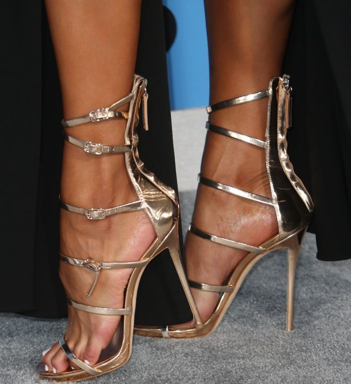 "Sibley Scoles wearing Giuseppe Zanotti ""Margaret"" sandals at the 2017 BET Awards #stilettoheels2017 #giuseppezanottiheelssandals"