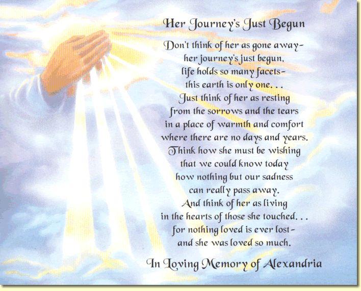 religious memorial poems | ... poem to create a special keepsake in loving memory memorial poems
