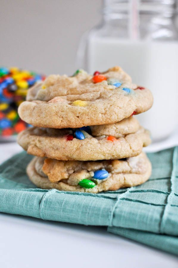 softest yummiest easiest cookies EVER! love this recipe...and because she called them RAINBOW cookies not M&M cookies I almost lost them FOREVER!!