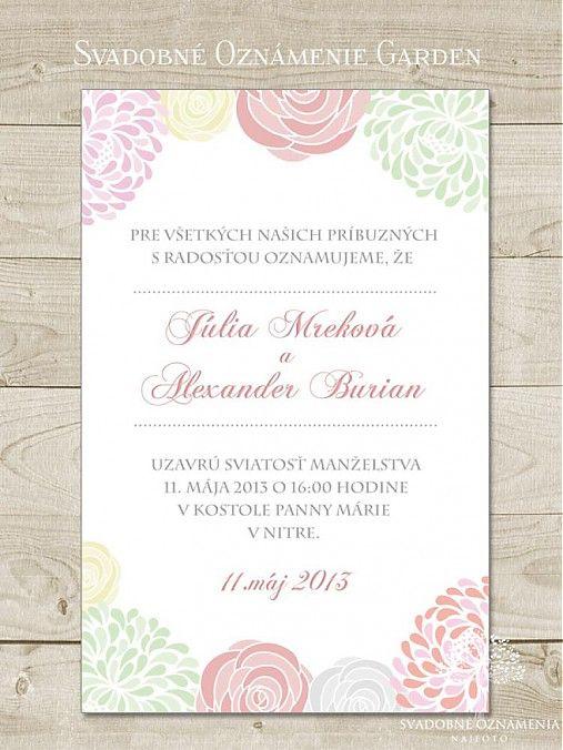 Svadobné oznámenie Garden