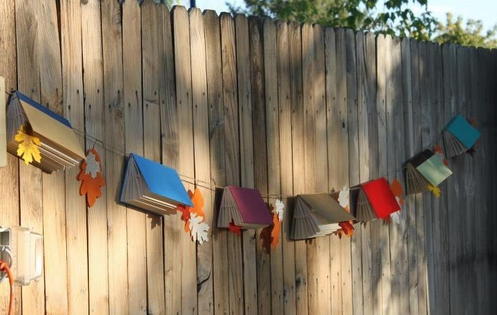 "Book decorations for ""destroyed"" books you could use at a book-themed party."