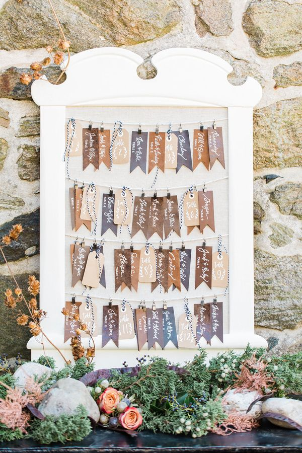 leather tag seating chart - photo by Jessica Cooper Photography http://ruffledblog.com/eclectic-appleford-estate-wedding-inspiration