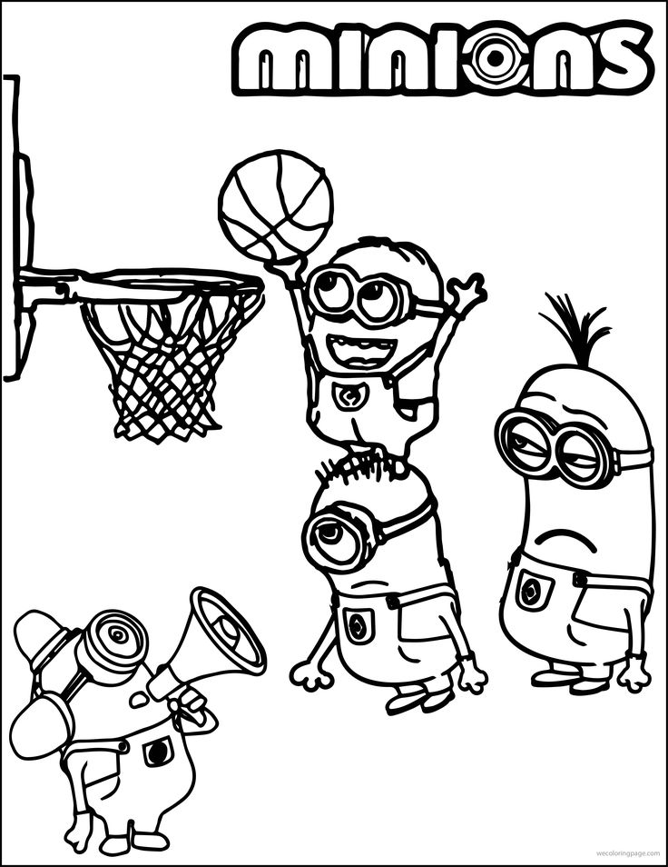 Minion Playing Basketball Coloring