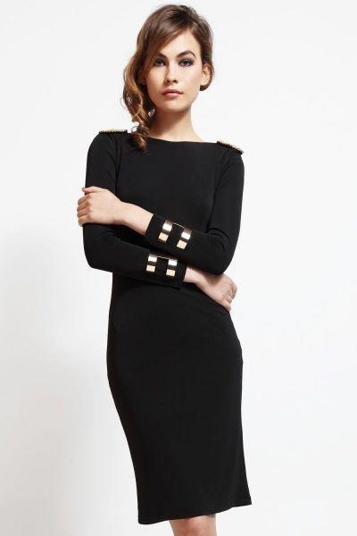 Vestido corto de fiesta negro con escote en espalda con cadena dorada para invitada boda y nochevieja de Apparentia Collection #invitadasboda #vestidosfiesta #nochevieja #fiesta http://www.apparentia.com/collection/ficha/1661/vestido-negro-cadena-espalda-circe/