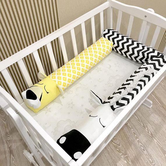 Babybett Stoßstange GELB CHEETAH Kissen handgefertigte Babybett