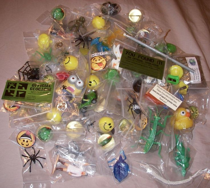 GEOCACHING TIP:  Put your geocaching trade items in little, inexpensive, plastic baggies (that are normally used for storing beads).  They'll be protected from the dirt and grime that's found in most geocaches.