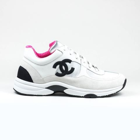 Chanel CC Logo Sneaker White Silver Pink