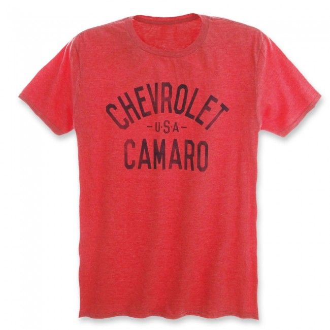 Chevrolet USA Camaro Tee - Heather Red  The name says it all. Straight-forward and boldly printed on these brightly colored tees. 65% polyester/35% cotton. Imported.  SKU: SM2-MT268