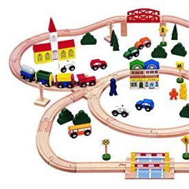 A complete wooden train set comes with engine, coaches, caboose, roadway vehicles, bridge, railroad crossing, city buildings, figurines, tree, bushes, and road signs. The fun is endless, this train set will keep little engineers busy for hours, and will last for generations. Product Features Beautifully crafted solid wooden 100 pc train set; Fun to play […]