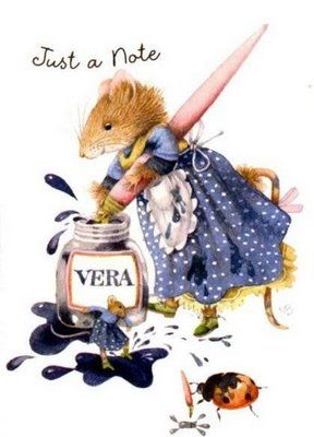 """Marjolein Bastin, Vera"": Mice, Vera The Mouse Prints, Blue, Artists Marjolein, Marjolein Bastin Vera, Sweet Illustrations, Note Cards, Vera Mouse"