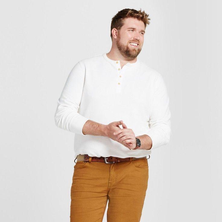 Men's Big & Tall Standard Fit Long Sleeve Micro-Waffle Henley Shirt - Goodfellow & Co White MT
