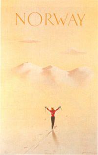 Vintage ski poster - Knut Yran  1953