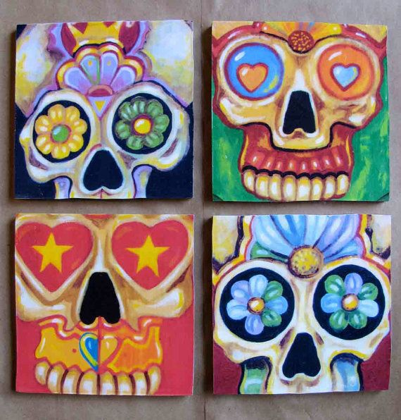 Handmade coaster set day of the dead sugar skulls by for Tattoo shops in mcallen