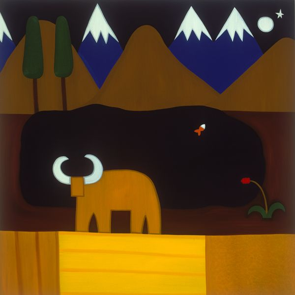The Moon and the Bull in the Peruvian Mountains, 2006. Oil on linen, 152 x 152 cm. Exhibition: Imaginary Landscapes. Private collection. #painting #oilpainting #finearts #contemporaryart #cristinarodriguez