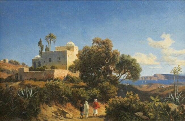 Algérie - Peintre Allemand Curtius Karl GROLIG (1805-1863), Huile sur toile, Titre: PAYSAGE D'AFRIQUE DU NORD
