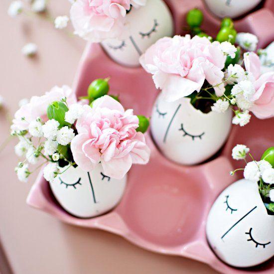 Tattoos+ eggshells and flowers make a pretty egg vase