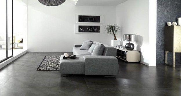 Risultati immagini per living chiaro pavimento grigio scuro  Haus  Grey floor tiles Dark tile