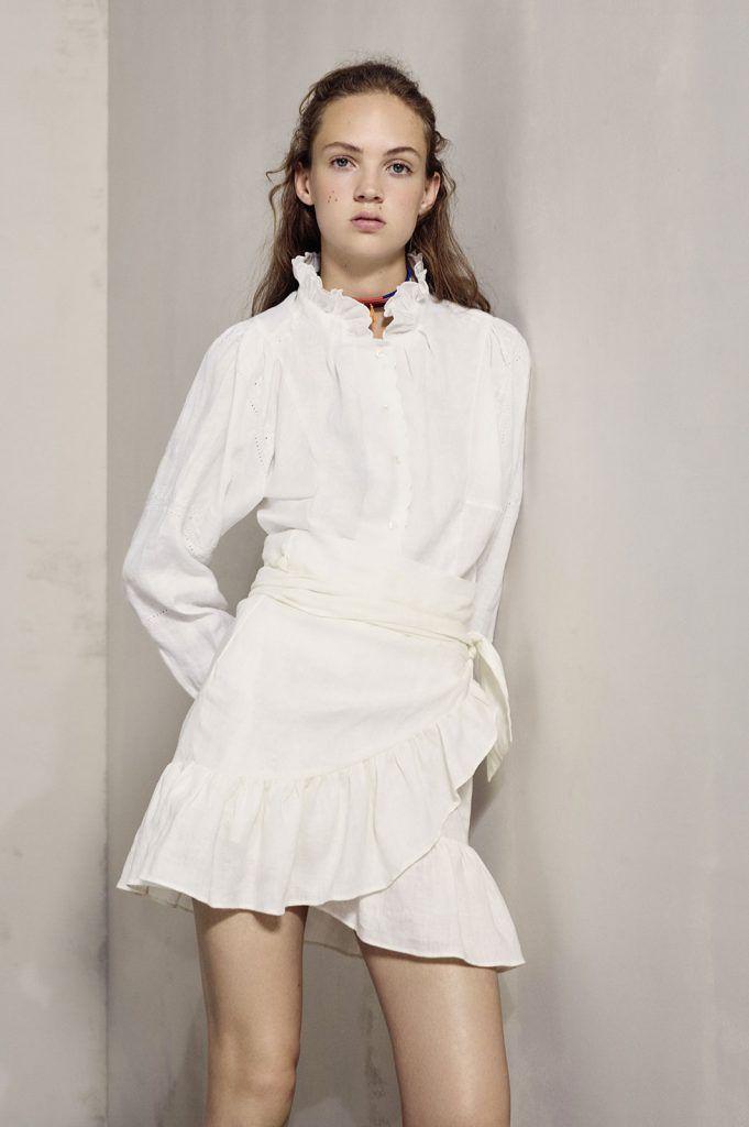 Tres clones de moda en H&M, Sfera y Stradivarius de la falda blanca con volante de Isabel Marant Étoile Primavera-Verano 2017