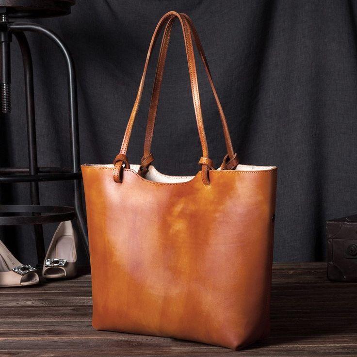 Handmade women fashion brown leather tote bag shoulder bag handbag shopper bag C105