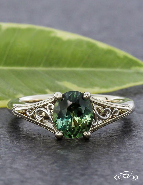 Montana Sapphire Filigree Engagement Ring. Green Lake Jewelry