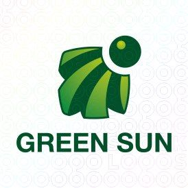 Green Sun logo Abstract green logo featuring the circle of the sun and the rays emanating from it. Technology, sun rays, green energy, abstract, charge, travel agency, heat, south, strips, Solar panel, light