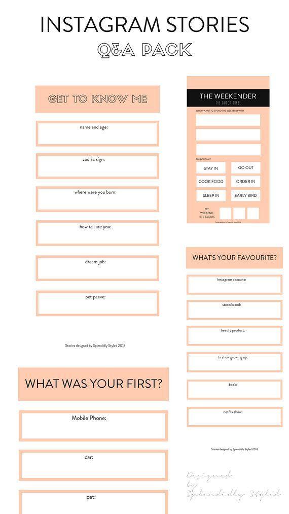 Instagram Stories QA Pack Instant Download finny Pinterest