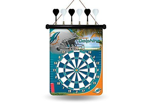 """NFL Miami Dolphins Magnetic Dart Board by Rico. NFL Miami Dolphins Magnetic Dart Board. 18"""" x 16""""."""