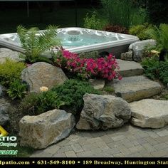 patio paver photos with hot tubs   Decks and Patios
