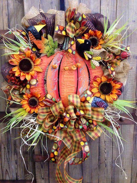 Fall Mesh Wreath on Etsy, $105.00