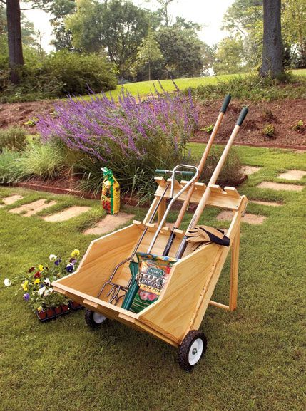 DIY-UTILITY CART;  This utility cart features a stout frame with a folding handle that doubles as a support stand. A built-in storage rack keeps garden tools steady, and the oversized bin can take on big loads with ease. Large wheels allow you to move the cart in various conditions and terrain.