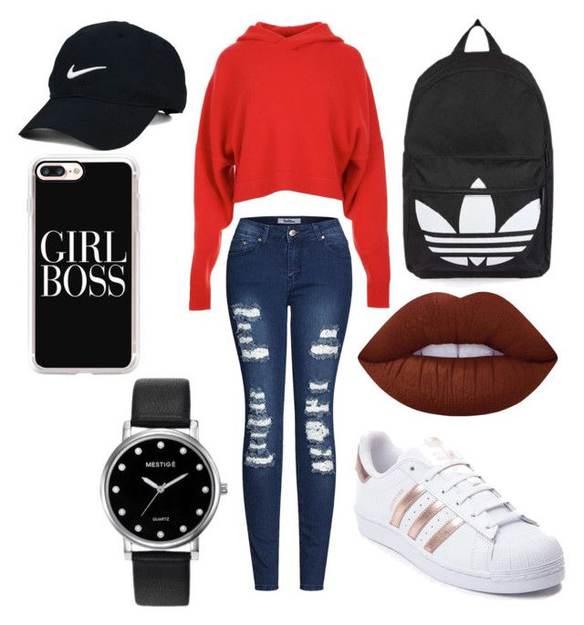 """🐧"" by sophievanderkooy on Polyvore featuring TIBI, 2LUV, adidas, Topshop, Nike Golf, Casetify, Lime Crime and Mestige"