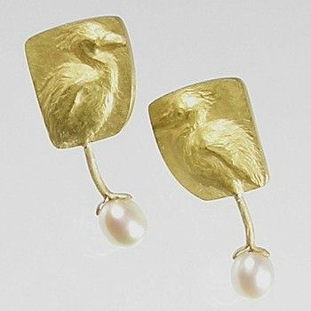 """Linda Kindler Priest: Egret Earrings, Baby Egrets and their eggs, in 14k gold and oval pearls. Approx 1.5"""" tall."""