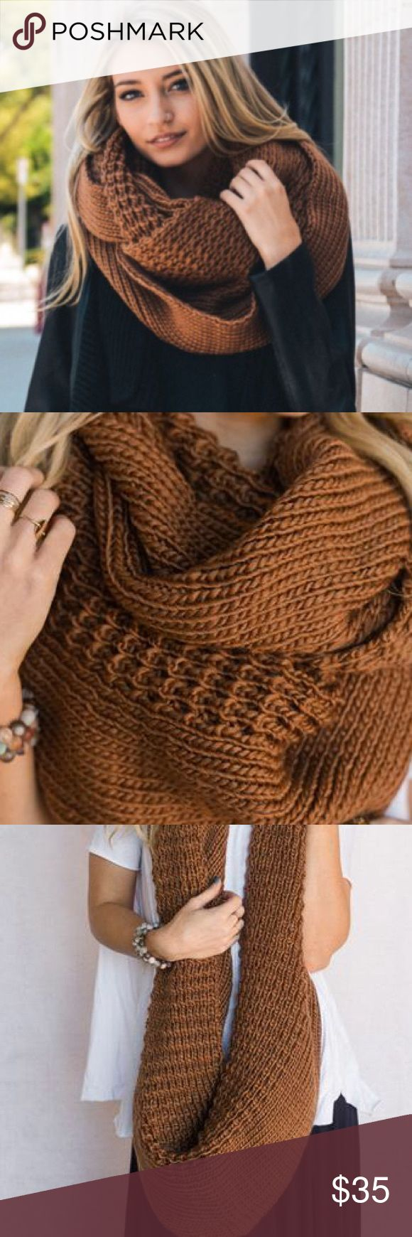 """XL Camel Knit Scarf Huge oversized knitted infinity scarf is a MUST Have! So pretty and soft! Mocha camel brown  Acrylic Yarn Oversized Chunky Knit 68""""x 24"""" Accessories Scarves & Wraps"""