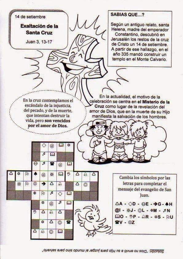 PASATIEMPOS Y CRUCIGRAMAS: Recursos Catequesis Exaltación de la Santa Cruz Pasatiempos, crucigramas y dibujos para iluminar