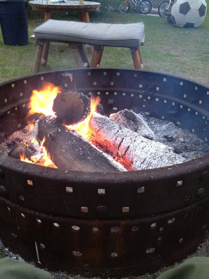 Great Fire Pit Made From An Old Tractor Rim For The