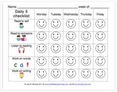 """Daily 5 Checklist, I really like the idea of the students keeping track of what they choose each week, if your smiley is filled in, choose something else. If you have 3 of one kind during the week, chose something else. stickers, stars, classroom money for """"#"""" smiley faces  each week."""