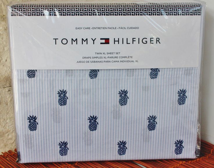 New Tommy Hilfiger TWIN XL DORM Sheet Set ~ Chambray PineApple ~ Summer Stripe in Home & Garden, Bedding, Sheets & Pillowcases | eBay