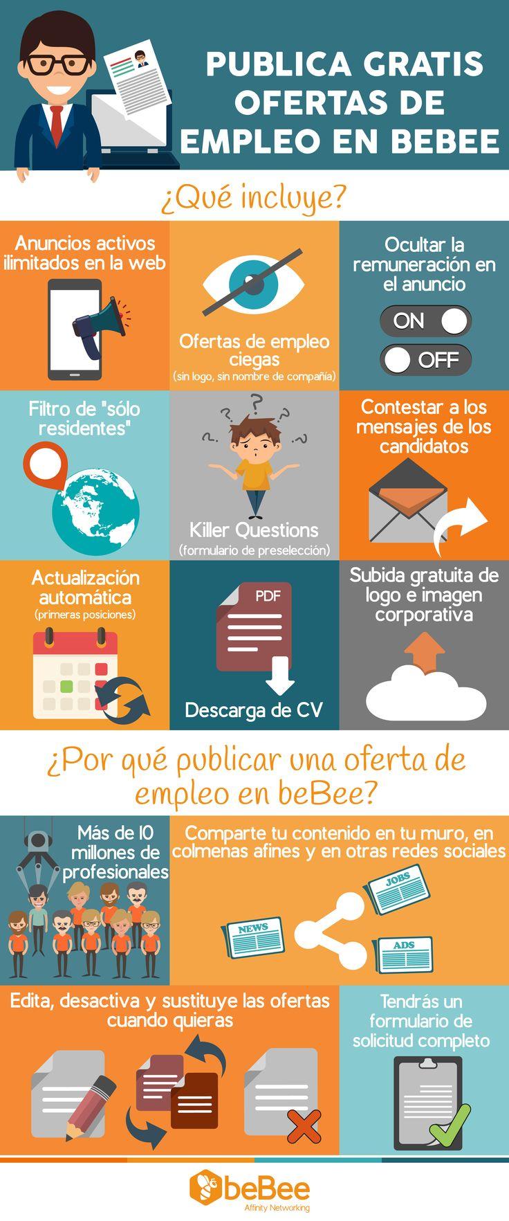 ¡Publica gratis ofertas de empleo en beBee! #Infografia