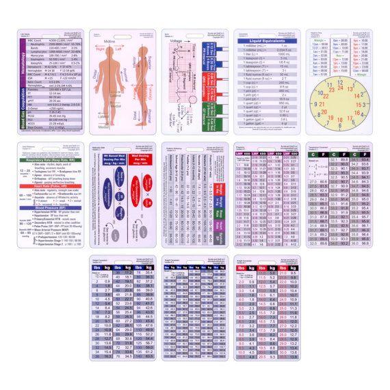 Complete Vertical Set of 13 cards for Nurse Paramedic EMT for ID Badge Clip Strap or Reel Ecg