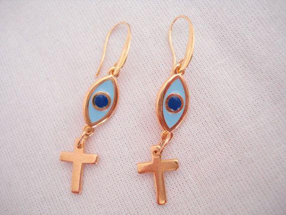 Evil eye gold cross earrings Gold evil eye drops Gold by Poppyg