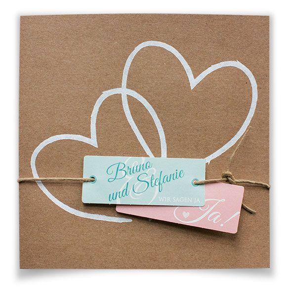 Packpapier-Hochzeitseinladungen mit Herzen