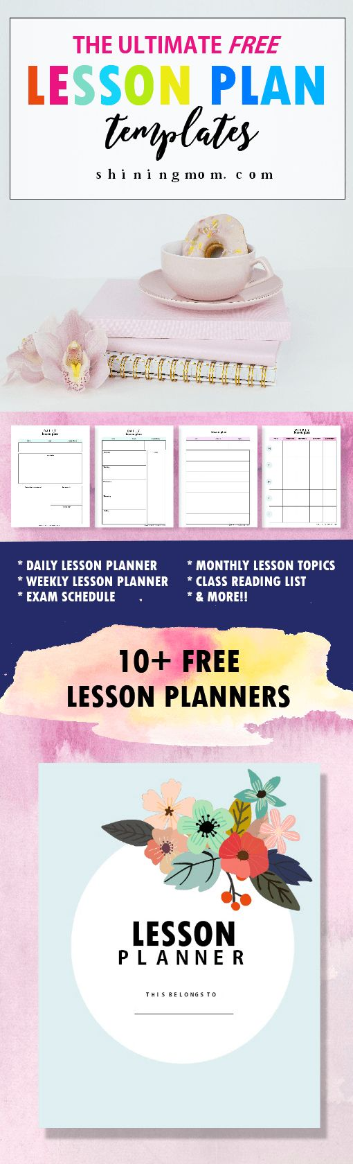 Teachers! Use this FREE lesson plan template printable bundle to organize your lessons in school!